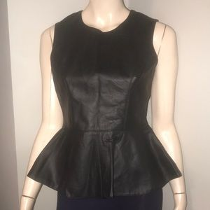 Faux Leather Peplum Top Forever 21 Back Zipper SzS